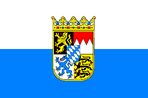 Bavarian Horizontal Striped Flag with Lesser Coat of Arms