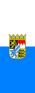 Bavarian Vertical Flag Horizontally Striped with Coat of Arms