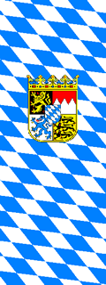 Bavarian Vertical Lozengy Flag with Coat of Arms