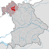 Map of Schweinfurt County in Lower Franconia and Bavaria