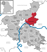 Map of Schonungen Municipality in Schweinfurt County