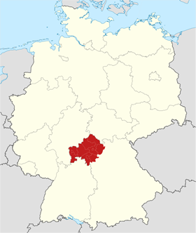 Map of Lower Franconia in Bavaria