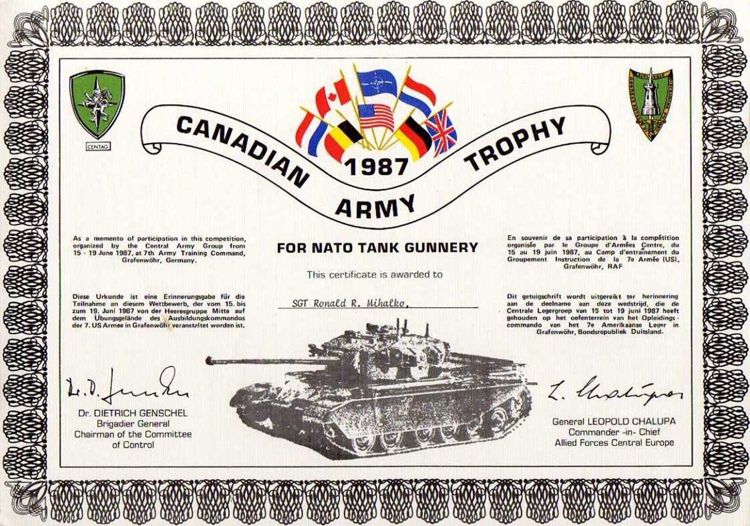US Army 4-8 Cavalry 3rd Armor AD CAT 1987 Canadian Army Trophy tank patch