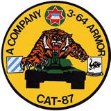 CAT 87 Sticker of A Company 3-64 Armor