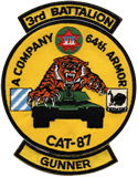 Gunner, A Company 3-64 Armor - CAT 87 Patch