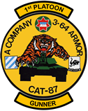 1st Platoon, A Company 3-64 Armor - CAT 87 Sticker