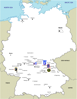 Click here for a larger map of U.S. Army units in Germany in 2009