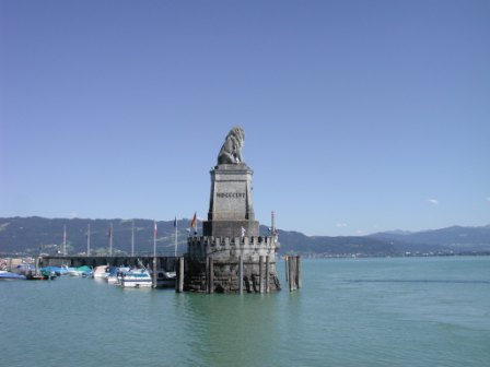Bavarian Lion in the Lindau harbor