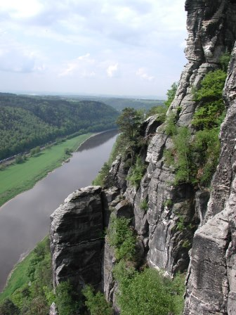 The Elbe River viewed from the Bastei Bridge