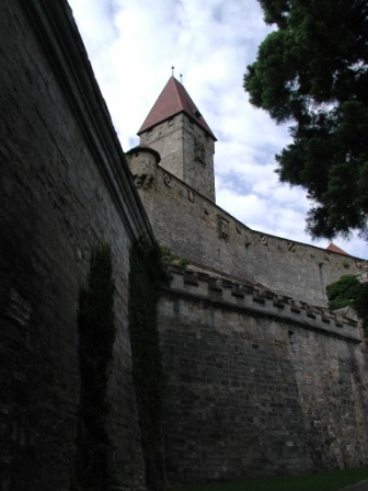 "The Bulgarians' Tower viewed from along the inner wall near ""Diamond Ring"" lookout bastion"