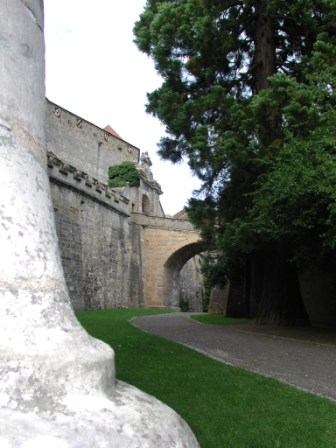 "The entrance gate and bridge viewed from outside below the ""Diamond Ring"" lookout bastion"