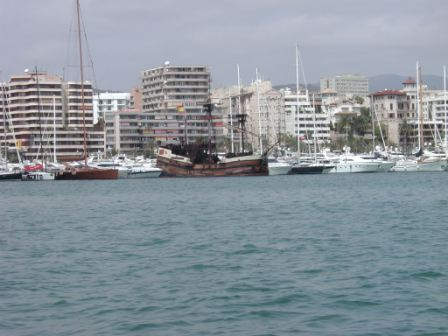Old Spanish ship in the port of Palma